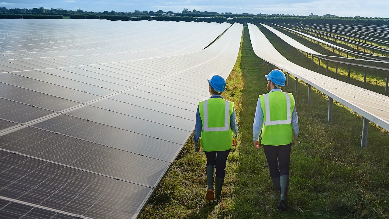 Surveying Engineers in safety wear in solar farm